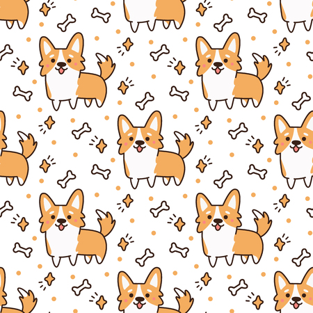 Illustration pour Cute pattern with  dog breed welsh corgi on a white background with hearts, stars,bones. It can be used for packaging, wrapping paper, textile and etc. - image libre de droit