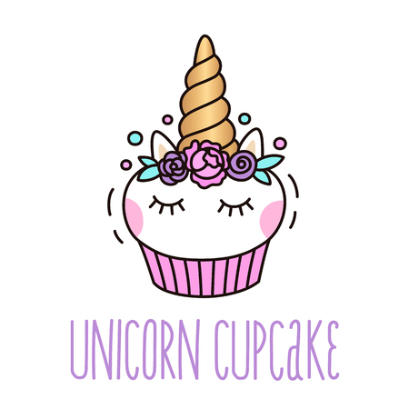 Ilustración de Cute unicorn cupcake on a white background.  It can be used for card, sticker, patch, phone case, poster, t-shirt, mug etc. - Imagen libre de derechos