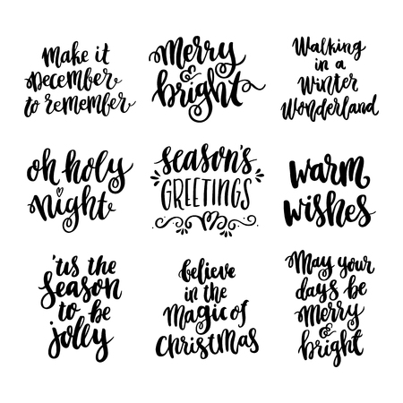 Ilustración de Set the hand-drawing quote in a trendy calligraphic style for Merry Christmas. - Imagen libre de derechos