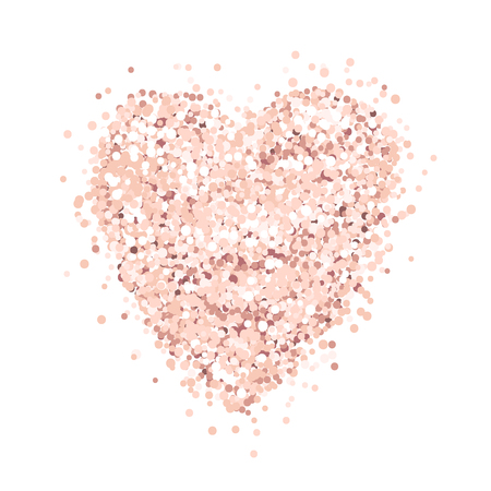 Illustration for Heart of pink gold glitter on a white background. Template for banner, card, save the date, birthday party, wedding card, valentine, etc. - Royalty Free Image