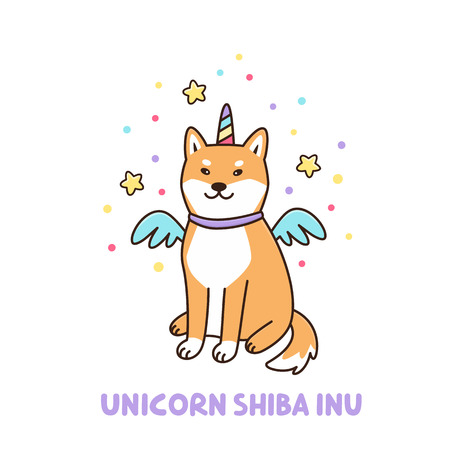 Illustrazione per Kawaii dog of shiba inu breed in a unicorn costume. It can be used for sticker, patch, phone case, poster, t-shirt, mug and other design. - Immagini Royalty Free