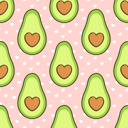 Ilustración de Seamless pattern with avocado, with a bone in the form of a heart, on a pink background with white hearts.  It can be used for packaging, wrapping paper, textile and etc. Excellent print for children's clothes, bed linens, etc. - Imagen libre de derechos