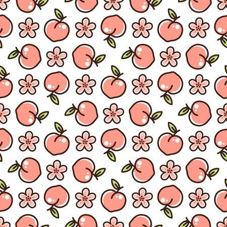 Ilustración de Cute pattern with peach and flowers on a white background. It can be used for packaging, wrapping paper, textile and etc. - Imagen libre de derechos