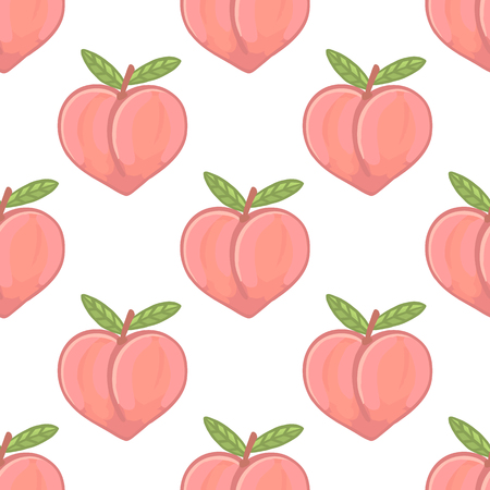 Illustration pour Cute pattern with peach on a white background. It can be used for packaging, wrapping paper, textile etc. - image libre de droit