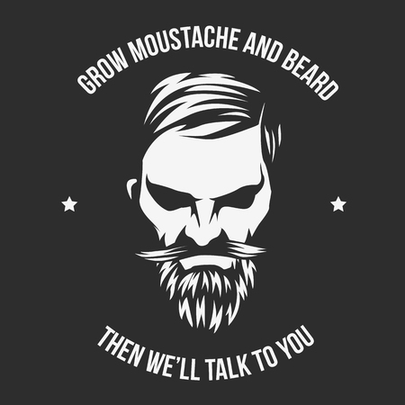 Illustrazione per Vector Grow Moustache and beard and illustration with High and Sober typography. - Immagini Royalty Free