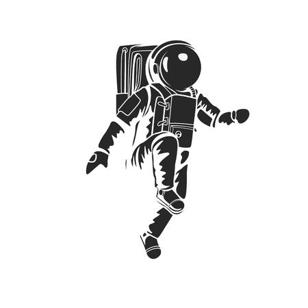 Ilustración de Astronaut walking on space and planet with high quality without outline design - Imagen libre de derechos