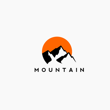 Illustration pour Mountain and sunset Logo in black and orange . - image libre de droit