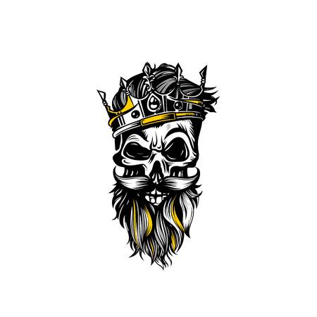 Illustration pour Hand drawn sketch skull with crown vector illustration. - image libre de droit