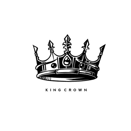 Illustration for Simple king crown on white background with typography vector illustration design. - Royalty Free Image