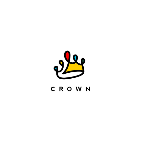 Illustration pour minimal logo of colorful crown on white background with typography vector illustrationdesign - image libre de droit