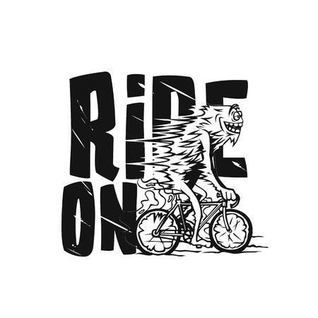 Illustration pour Young handsome man riding bicycle vector illustration. - image libre de droit
