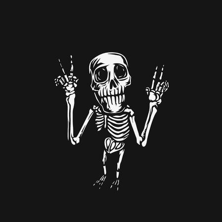 Illustration pour Hand drawn skull, posing, t-shirt print, vector illustration. - image libre de droit