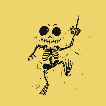 Illustration pour Dancing skeleton  illustration on yellow background. - image libre de droit