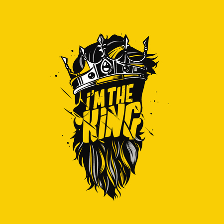 Illustration for Minimal logo concept design of king crown and beard illustration. - Royalty Free Image