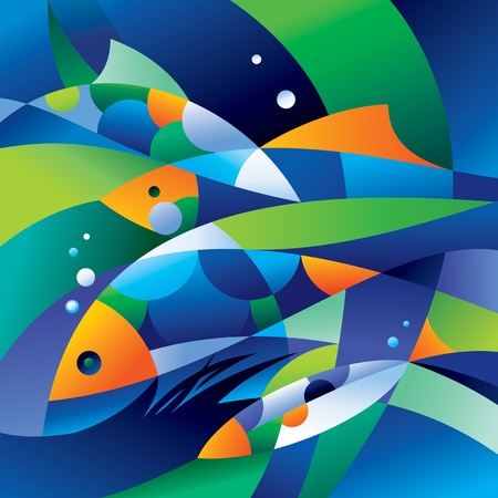 Abstract fishes in the depths of the ocean. Vector illustration.