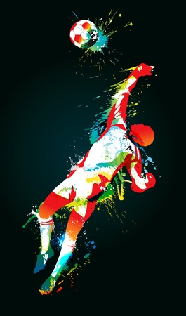 The football goalkeeper catches a ball on the black background. Vector illustration.