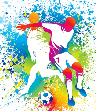 Football players with a soccer ball. Vector illustration.