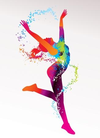 Foto de The dancing girl with colorful spots and splashes on a light background. Vector illustration. - Imagen libre de derechos
