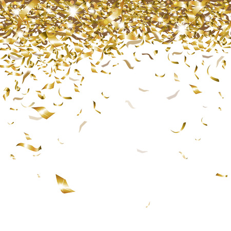 Illustration pour festive glittering gold confetti falling - image libre de droit