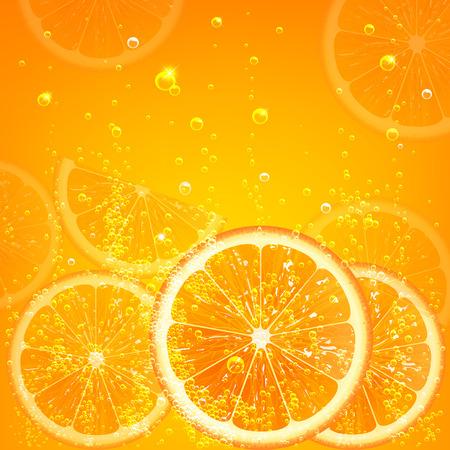 Illustration pour orange juice with orange slices and bubbles - image libre de droit