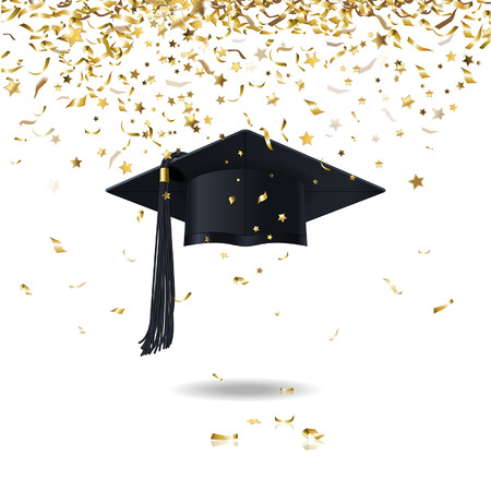 graduate cap and golden confetti