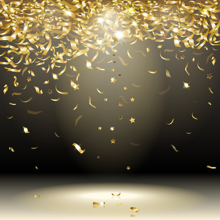 Illustration for gold confetti on a dark background - Royalty Free Image