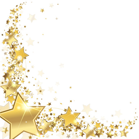 Illustration for frame gold stars on a white background - Royalty Free Image