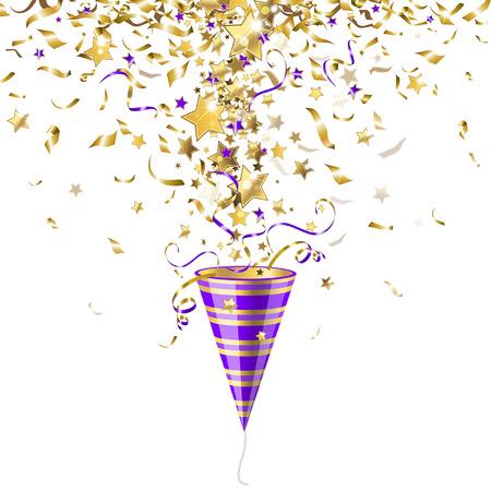 Illustration pour Party poppers with gold confetti on a white background - image libre de droit