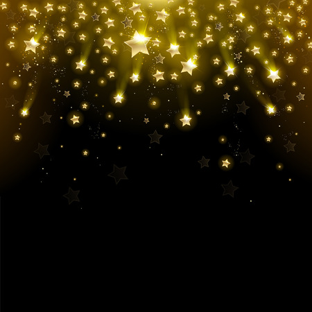 Illustration for salute of gold stars on a black background - Royalty Free Image