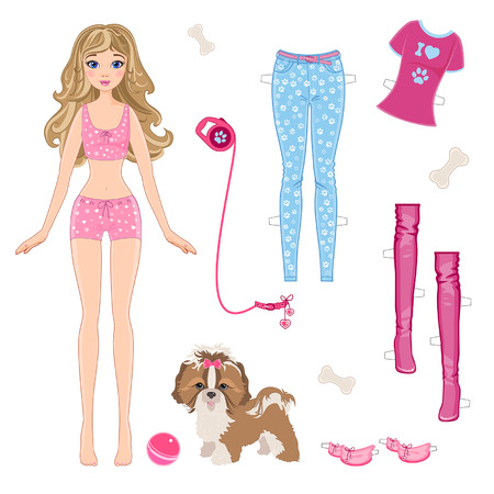 Illustration pour Paper doll with clothes and a small dog - image libre de droit