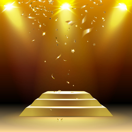 Illustration pour podium in the rays of light with confetti - image libre de droit