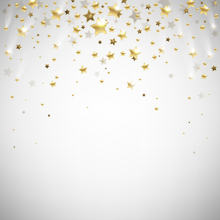 Illustration for golden falling stars on a light background - Royalty Free Image