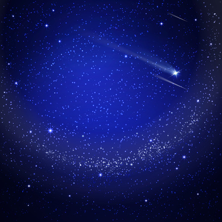 Illustration for starry sky with a shooting star - Royalty Free Image