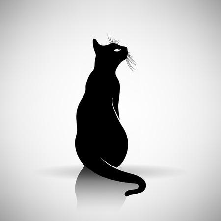 Ilustración de stylized silhouette of a cat on a light background - Imagen libre de derechos