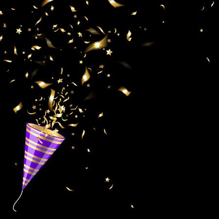 Illustration pour party popper with gold confetti  on a black background - image libre de droit