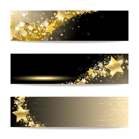 Illustration for Set of banners with gold stars on a dark background - Royalty Free Image