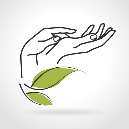 Illustration pour female hands caring for them on a white background - image libre de droit