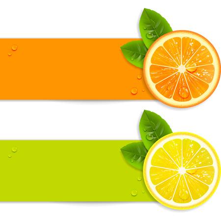 Ilustración de banners with orange and lemon on a white background - Imagen libre de derechos