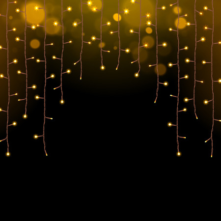 Illustration for glowing Christmas lights garland on a dark background - Royalty Free Image
