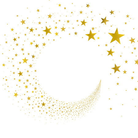 Illustration for stream gold stars on a white background - Royalty Free Image