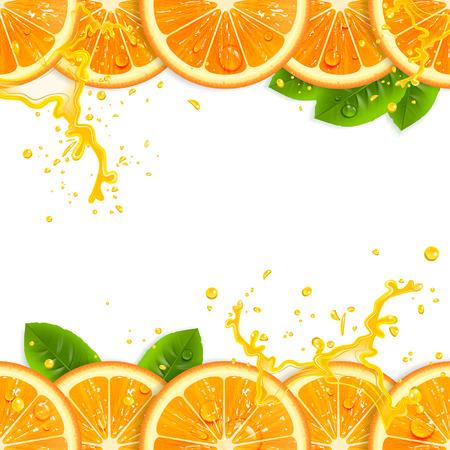 Illustration pour banner with fresh oranges and leaves - image libre de droit