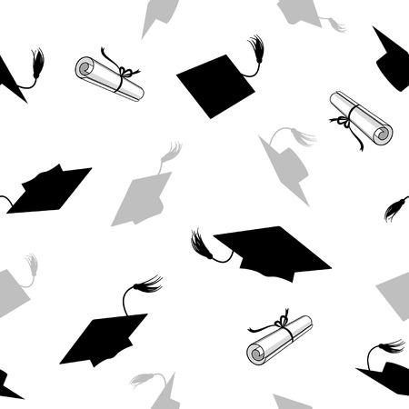 Illustration pour seamless pattern with graduation caps and diplomas - image libre de droit