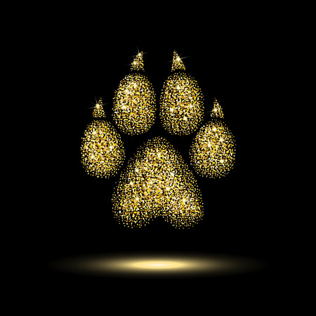 Illustration pour trail dog from a golden sequins on black background - image libre de droit