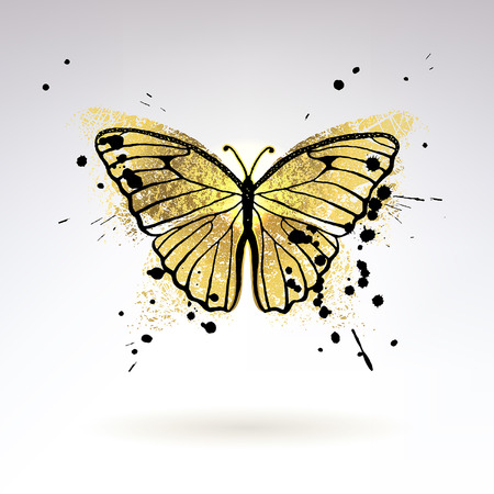 Ilustración de Decorative glowing golden butterfly on a light background - Imagen libre de derechos