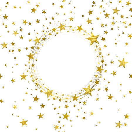Illustration for round banner of gold stars on white background - Royalty Free Image