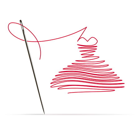Photo pour Sewing needle with a red thread in the form of a dress on white background - image libre de droit