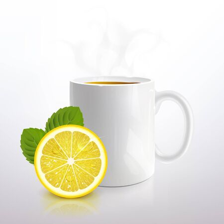 Ilustración de white mug of tea with lemon and mint on a light background - Imagen libre de derechos