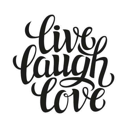 Photo pour Hand drawn typography poster.Inspirational quote 'live laugh love'.For greeting cards, Valentine day, wedding, posters, prints or home decorations.Vector illustration - image libre de droit