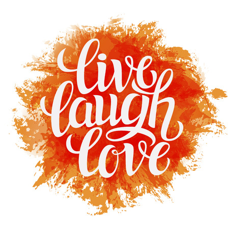 Illustration pour Hand drawn typography poster.Inspirational quote 'live laugh love'.For greeting cards, Valentine day, wedding, posters, prints or home decorations.Vector illustration - image libre de droit