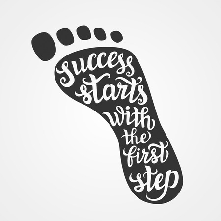 Illustration pour Hand lettering typography poster.Motivational quote 'Success starts with the first step' on white background.For posters, cards,t-shirts, home decorations.Vector illustration. - image libre de droit